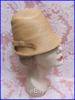 VTG 1960s SCHIAPARELLI Milan Straw DOME BUCKET CLOCHE HAT withBOX