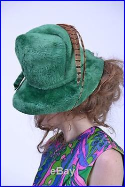 VTG 60s 70s MR JOHN Green FEATHER Fedora Floppy Wide Brim Pharrell Fur HAT NOS