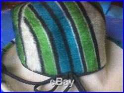 VTG 70s YVES SAINT LAURENT Fedora Mohair Vibrant Stripes Hat Cordage Ties ICONIC