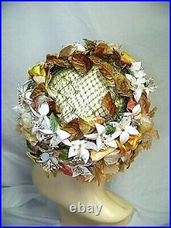VTG Christian Dior Chapeau Paris New York Floral Designer Hat Gold Beige Brown