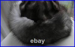 VTG DELUXE SILVER FOX FUR Cossack Hat Beanie women WIDE BRIM New Sz approx S-M