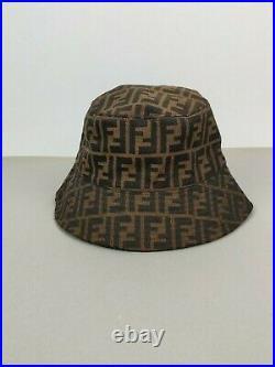 VTG Fendi Monogram Cotton Buket Hat Cap Brown One Size