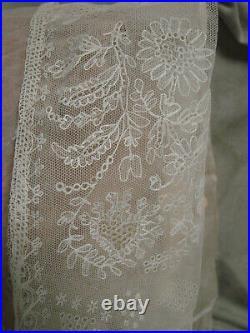 VTG Large LACE Folk Hat Headdress EMBROIDERY Tambour Bonnet White Bridal
