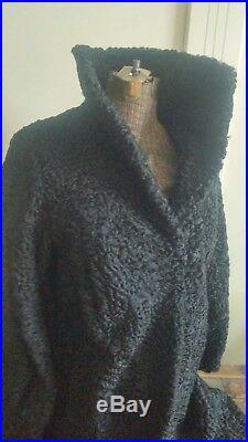 VTG Persian lamb fur Black Long Coat Women Sz. S / M Stunning with hat