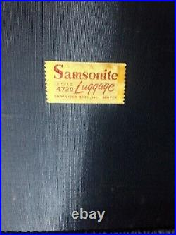 VTG Samsonite Suitcase Shwayder Round Hat Box Hard Sided navy blue/off white