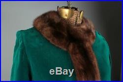 VTG Women's 1960s Emerald Velvet Coat W Fur Collar Sz S W Hat #2966 60s Green