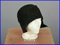 VTG Women's 20s Black Wool Felt Cloche Hat 1920s