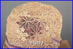 VTG Women's 20s Ivory & Purple Mesh Floral Cloche 1920s Flapper Hat