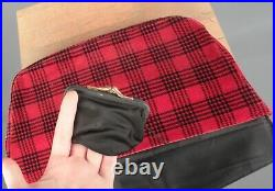 VTG Women's 30s 40s Black & Red Plaid Velvet Hat & Clutch Set 1930s 1940s