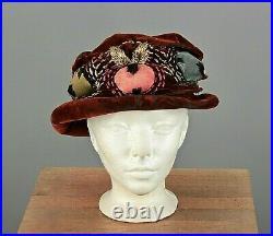 VTG Women's Teens / 1910s-1920s Brown Velvet Embroidered Hat 20s