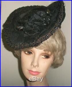 Victorian 1890's Black Straw Tilt Hat