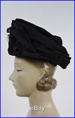 Victorian 1890s Black Ruched Silk Wired Torque Hat W Leave Trims