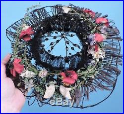 Victorian 19th C Wired Jet & Straw Bonnet / Hat For Dress W Florals