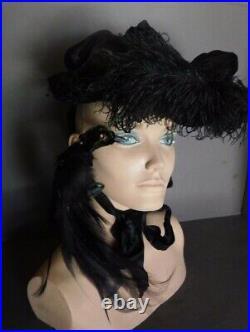 Victorian Antique Ostrich Feather Velvet Mourning Hat Bonnet Taxidermy Bird