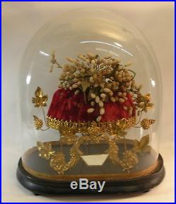 Victorian Eastern European BRIDAL CAP, within Antique Clear Glass Dome
