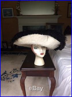 Victorian Edwardian Fur Feather Wide Brim Hat