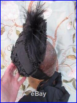 Victorian Edwardian fine straw mourning hat lace petersham feathers raffia trim