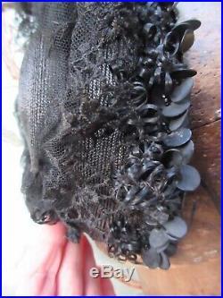 Victorian Edwardian fine straw mourning hat sequins beads embroidered net raffia