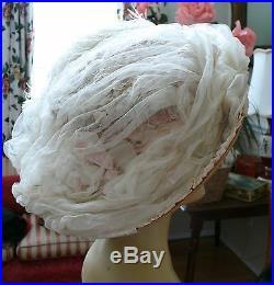 Victorian Hat 1890-1900 Large Strawberries &Cream Summer Picture Hat So Romantic