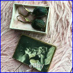Victorian Original Scarab Beetle Egyptian Revival Cleopatra Earrings