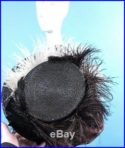 Victorian Turn Of The Century Straw Walking Suit Hat W Feathers