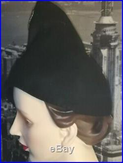 Vintaage hat/1930s/30s 1940s/40s Black felt hat with detail Pin up/ Landgirl