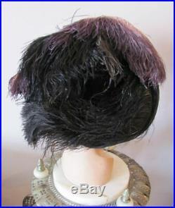Vintage 1909 EDWARDIAN OSTRICH PLUME Wide Brim Hat BOGGS & BUHL Pittsburg(h)
