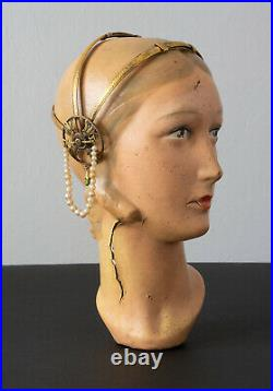 Vintage 1920's Egyptian Revival Brass Headpiece with Pearl Beads and Green Jewels