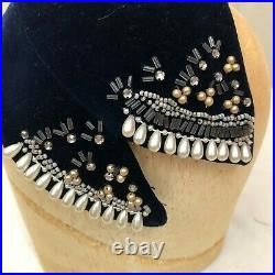 Vintage 1920s-1930s Handmade Jeweled and Beaded Cocktail Style Hat Velvet Pearls