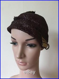 Vintage 1920s Cloche Hat Iridescent Straw 20s Art Deco French Pristine Stunning