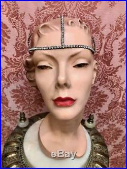 Vintage 1920s Deadstock withTag ART DECO Gatsby FLAPPER Cap Rhinestone HEADPIECE