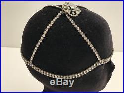 Vintage 1920s Flapper Rhinestone Headress, Headpiece, Cap, RARE