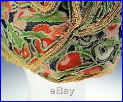 Vintage 1920s Helmet Cloche Cord Work Lace Womens Original Cap Hat