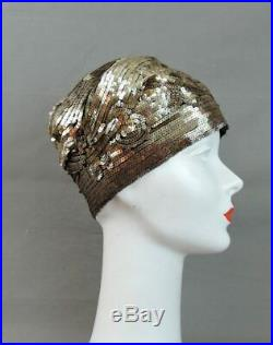 Vintage 1920s Sequin Cloche Hat, Gold Floral Flapper Hat, fits 21 inch head