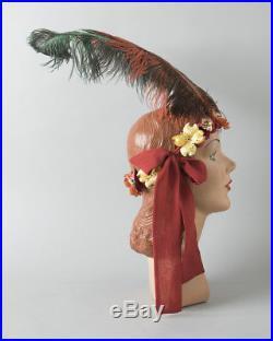 Vintage 1920s Style Headdress Handmade Ostrich Feather Floral Headband Headpiece