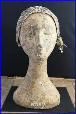 Vintage 1920s skull cap, bridal, faux pearl lace and paste, 20s hat