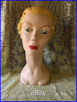 Vintage 1930's / 1940's Lady Woman Mannequin Head Bust Hat Store Display