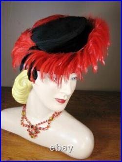 Vintage 1930s 1940s Amazing Black Fabric Red Feather Tilt Hat Leighton L97