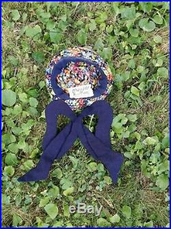 Vintage 1930s Designer Helen Liebert Tilt Hat Quilted Bow & Colorful Straw Cap