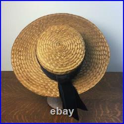 Vintage 1930s Ladies Straw Boater Hat Velvet Band Wide Brim Summer Boating Party