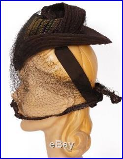 Vintage 1930s Straw Tilt Hat S M L