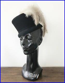 Vintage 1940's Norman Durand BLACK FELT Ombre OSTRICH FEATHERS Tilt RIDING HAT