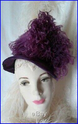 Vintage 1940's Violet HAT BONNET Lge OSTRICH FEATHER Purple Victorian Costume
