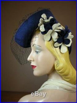 Vintage 1940s Navy Blue Felt Breton Tilt Toy Doll Hat New York Creation Veil K74