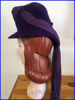 Vintage 1940s Purple Fur Felt Tilt Hat with Buckle Detail and Draped Fabric