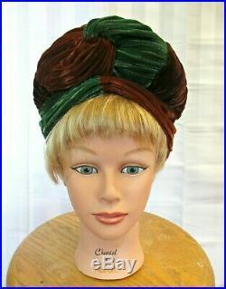 Vintage 1940s Silk Velvet Turban Hat Purple Green Maroon High Wrap Look Deco Sty