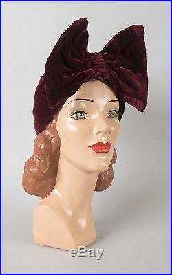 Vintage 1940s Turban 40s Burgundy Silk Velvet Big Bow Hat