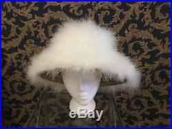 Vintage 1950-60s white feathers Derby, wide brim, Church, event wedding hat