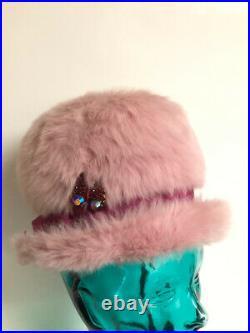 Vintage 1950 Schiaparelli Paris Fashion Pink Fuschia Fuzzy Faux Fur Mousse Hat