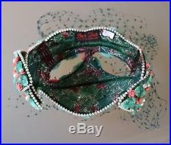 Vintage 1950's Bes-Ben Ladies Hat Glass Floral Beads, Jade, Coral & Pearls
